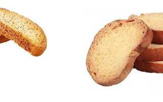 Сколько калорий в сухарях