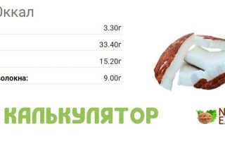 Кокосовая стружка калорийность на 100 грамм